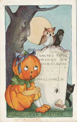Halloween PC ca. 1908 * JOL Head Girl Black Cat Spider Owl