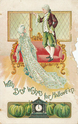 Halloween PC ca. 1908 * Man & Woman on Couch * Embossed  Germany