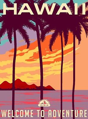 Hawaii Welcome to Adventure United States Travel Advertisement Art Poster Print