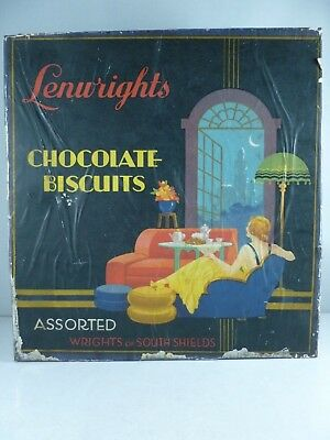SUPERB classic 1930s ART DECO Wright's Biscuit Tin - Paper Covered RARE ITEM