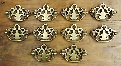 "Lot of 10 Brass Chippendale Batwing Drawer Pulls 3"" x 2 1/8"""