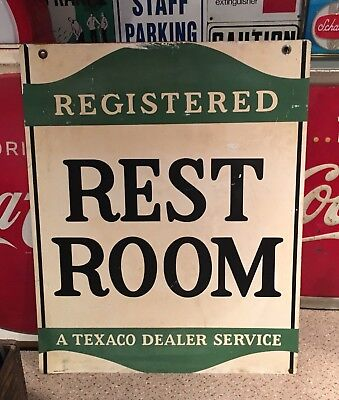 Large 1960 Texaco Service Station Restroom Double-Sided Sign
