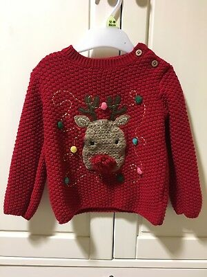 Florence & Fred Kids Christmas Red Rudolph Jumper 18-24 Months