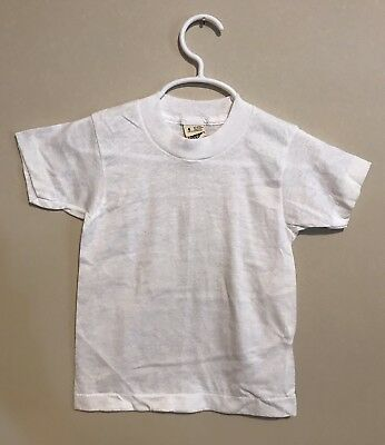 Vintage 1980s Screen Stars Juniors Blank Kids T-Shirt Youth size 4 toddler white