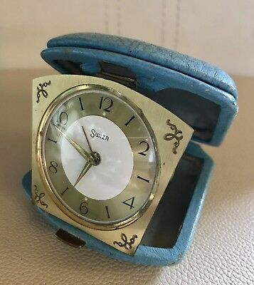 Vintage Swiss Swiza Travel Alarm Clock In Leather Case