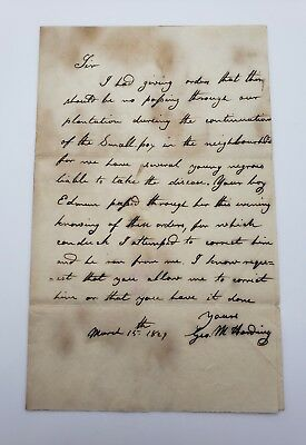 """1829 Slave Owner Letter To """"Correct"""" Named Slave Edmond To Stop Smallpox Antique"""