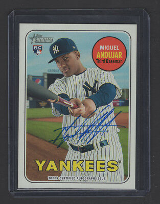 2018 Topps Heritage High Number *MIGUEL ANDUJAR* Real One Blue Ink Rookie Auto