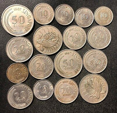 Old Singapore Coin Lot - OLDER STYLE - 17 Excellent Coins - Lot #J16