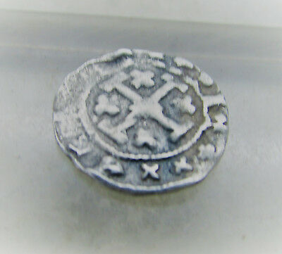 Ancient Byzantine Hammered Silver Crusaders Coin