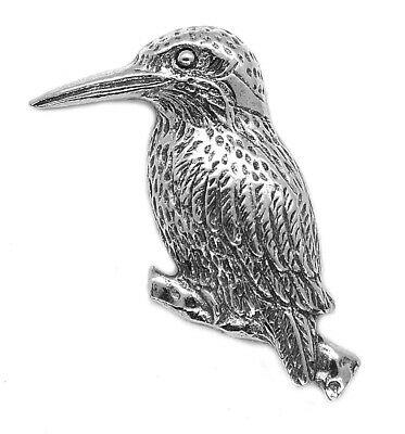 Kingfisher Bird Pin Badge - Country Life Silvery Brooch (Made in UK)
