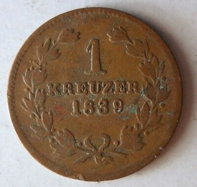 1839 GERMAN STATES (BADEN) KREUZER - Great Vintage Coin - Lot #J16