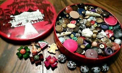 TIN Full VINTAGE SEW BUTTONS & Covers MIX Lot Celluloid MILITARY Glass BAKELITE