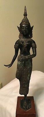 Fine Old South East Asia Thailand Bronze Standing Buddha Figure Statue