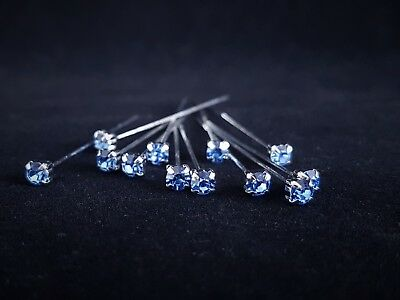 Diamante Florist Pins 4mm x 72pcs Light Blue Premium Quality