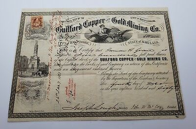 Guilford Copper and Mining Company Capital Stock 500 Shares December 1860 SIGNED