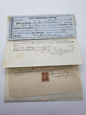 4 Matching Colored Soldier Union Cival War Documents Discharge Free Papers Ect!