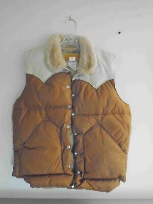 Rocky Mountain Featherbed Co. Christy Vest Brown & Tan Shearling Collar Excelnt