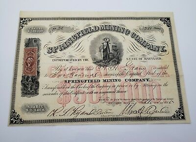 Springfield Mining Company Capital Stock Certificate 200 Shares 1866 Vintage