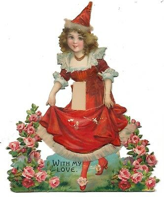 Frances Brundage Mechanical Valentine - Pretty Girl in Red with Moveable Skirt