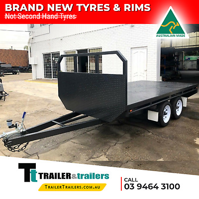8X6 Tandem Axle Basic Flat Top/Flatbed/Table Top Trailer | Headboard |New Wheels