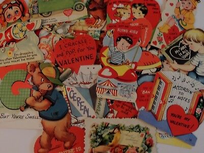#487 Vintage Valentine Card Lot of 50 ANTIQUE CALLING CARDS MECHANICAL NICE MIX