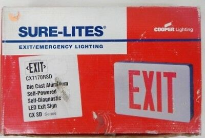 Sure-Lites CX71 LED Die Cast Exit Sign Self Power Brushed Aluminum Single Faced