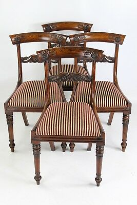 Set 4 Antique William IV Rosewood Dining Chairs -Gillows Style Georgian Regency