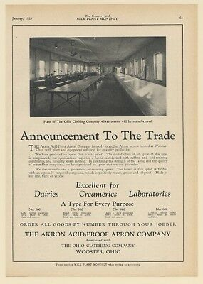 1928 Akron Acid-Proof Apron Co Ohio Clothing Co Plant Wooster OH Dairy Print Ad