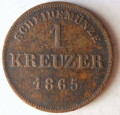 1865 GERMAN STATES (SCHWARZBURG) KREUZER - RARE - Great Vintage Coin - Lot #J16