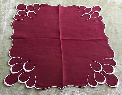 Vintage Handkerchief Antique Maroon Delicate embroidered White