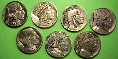 7 different Hobo nickels carved in the old tradition.