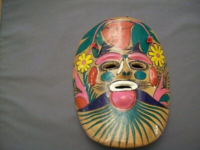 Hand Made Hand Painted Mexican Pottery Face Mask Wall Hanging