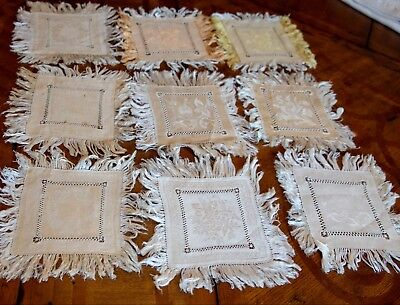 Lot of 9 VIntage Damask Fringe Cocktail Napkins w/ Drawnwork