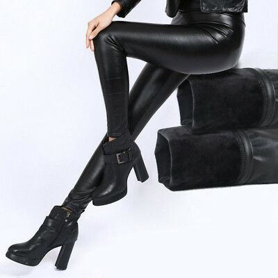 Damenhose Leggins Leder Kunstleder  Wet Look Lack Leder Optik Schwarz Jegging