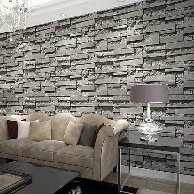 Stacked 3d Stone Wallpaper Roll Grey Charcoal Brick Slate