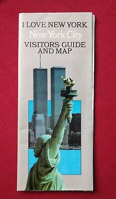 Pre 9/11 New York City Visitors Guide and Map World Trade Center Twin Towers