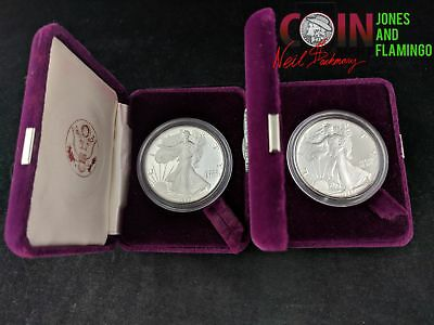 2 ~ 1987-S American .999 Silver Eagle $1 Proof Coins In Boxes W/ Coa #20913