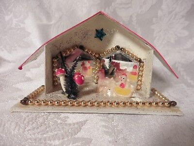 Vintage Putz House Mirrors Mercury Glass Beads Celluloid Santa Sleigh
