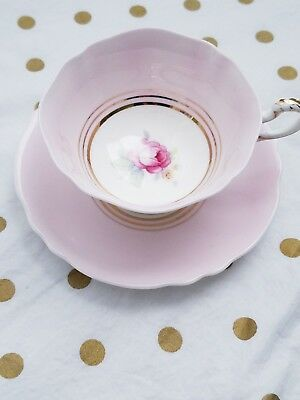 PARAGON RED LARGE ROSE TEA CUP & SAUCER in PALE PINK -  gold trim