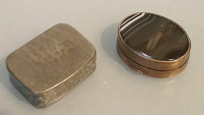Two snuff boxes , Victorian with banded agate the other Edwardian pewter box.