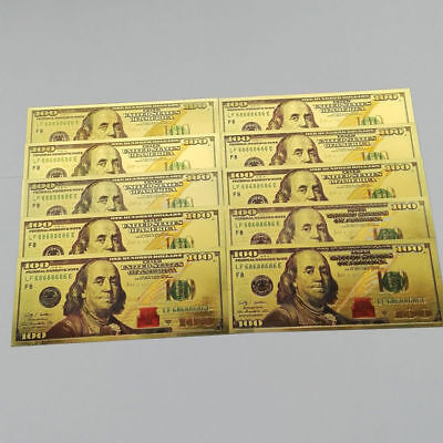 100pcs US$100 New Edition Crafts 1:1 Currency Gold Foil World Dollar Paper Money