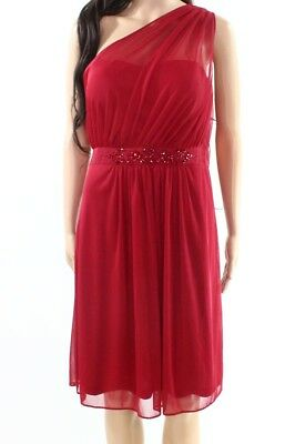 Adrianna Papell NEW Red Womens 6 Embellished One-Shoulder Sheath Dress $169 424