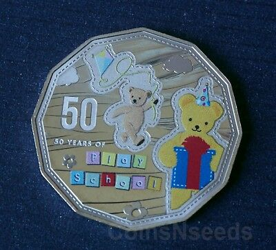 50c, 2016 Big Ted and Little Ted 50th anniversary of Play School Australian Coin