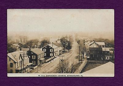 1912 Rppc Myerstown Pa West From Reformed Church Real Photo Postcard