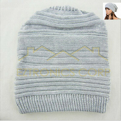 8b53f00ba69 NEW Unisex Womens Mens Knit Baggy Beanie Beret Hat Winter Warm Oversized  Ski Cap
