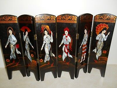 Oriental Miniature HINGED BLACK LACQUER FOLDING SCREEN 6 Double Sided Panels