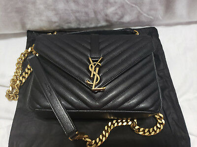 Authentic Ysl Saint Laurent College Bag Medium Black Matelasse Leather 5782a8c4ebb77