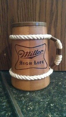 Miller High Life Wooden Mug W/Removable Liner & a Metal Plate. Please look Pics.