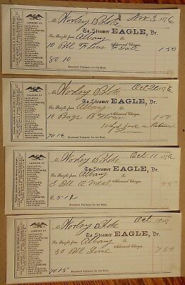 Vintage Lot of 4 1876 STEAMER EAGLE Albany & Newburgh Freight Receipts.