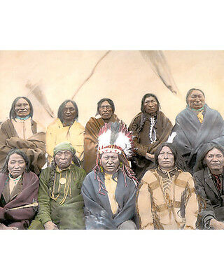 """COUNCIL OF INDIAN CHIEFS LAKOTA SIOUX 1901 8x10"""" HAND COLOR TINTED PHOTOGRAPH"""